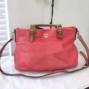 MCM 2way peach purse